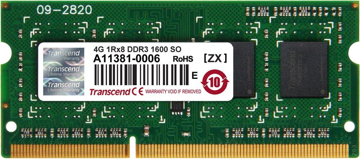 Transcend JetRam SO-DIMM DDR3 4GB 1600МГц модуль оперативной памяти (JM1600KSH-4G)JM1600KSH-4GМодуль памяти Transcend JetRam SO-DIMM DDR3 построен с использованием чипов наивысшего качества DRAM от известных брендов и проходит тщательные испытания, чтобы гарантировать соответствие строгим требованиям Transcend к общему качеству и производительности. Небуферизованный модуль Transcend JetRam SO-DIMM DDR3 является наиболее стабильным и надежным в отрасли, что также делает его экономичным решением для всех настольных компьютеров. Данный модуль емкостью 4 ГБ, спроектирован для работы на частоте 1600 МГц PC3-12800 при таймингах CL-11.