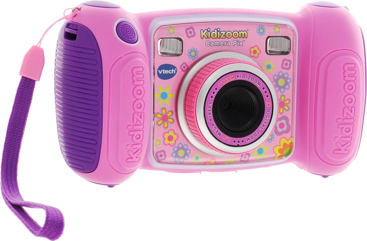 Vtech Детская цифровая фотокамера Kidizoom Camera Pix цвет розовый80-193650Цифровая камера Kidizoom Camera Pix от производителя Vtech - это очень прочная и простая в использовании цифровая камера, созданная специально для детей! Камера позволяет снимает фото и видео с забавными эффектами, снимает в специальном режиме селфи.Kidizoom оснащен различными творческими инструментами, которые позволят украсить фотографии с помощью интересных рамок, штампов и других интересных эффектов. С Kidizoom можно создавать собственную анимацию! В дополнение к этому, с помощью Kidizoom Camera Pixможно записывать голос с 5 эффектами изменения голоса или играть в любую из встроенных 4 игр.Особенности камеры:Разрешение: 1.3 Мп,Зум: 4-х кратный,128 МБ встроенной памяти (на 1000 фото) + слот для microSD/SDHC карт,Запись видеороликов,4 игры,Диктофон,Возможность подключения к ПК (USB кабель входит в комплект),Двойной видоискатель + цветной дисплей 1.8,Множество спецэффектов для фотографий и видеороликов,Закачка новых игр и спецэффектов через сервис Vtech Learning Lodge.Продается в стильной коробке и идеально подходит в качестве подарка. Требуются 4 батарейки типа АА (в комплект не входят).Компания Vtech - лидирующий поставщик электронных обучающих игрушек для детей. Цифровые игрушки и товары для детей Vtech позволяют детям развивать свои творческие навыки, креативность, способность изучать окружающий мир, учиться читать и считать.