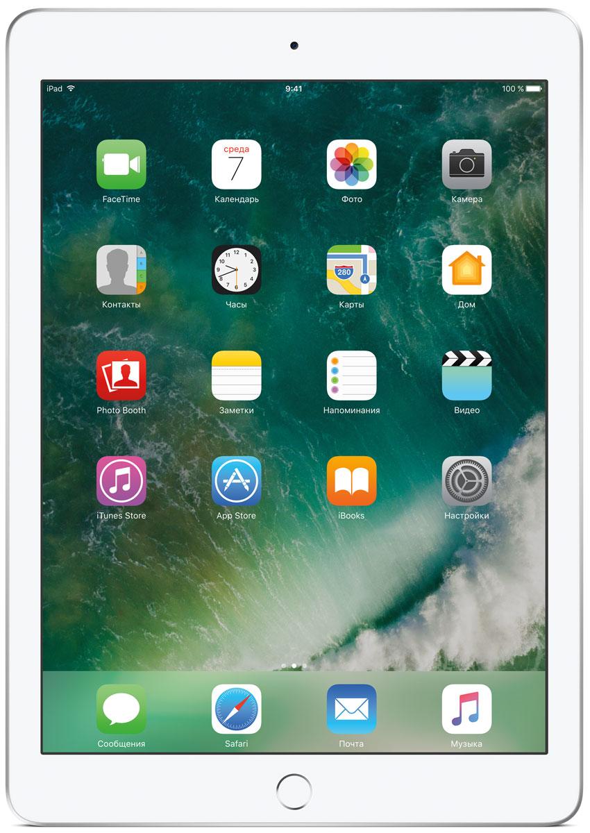 Apple iPad 9.7 Wi-Fi 32GB, SilverMP2G2RU/AДелайте проекты, листайте сайты, играйте и учитесь. У iPad для этого есть великолепный дисплей, высокая производительность и приложения для ваших любимых занятий. Где хотите. Легко и волшебно.Фотографии, шоппинг, презентации - на ярком 9,7-дюймовом дисплее Retina всё выглядит живо, реалистично и невероятно детально.Производительность, необходимую для быстрой и плавной работы приложений, обеспечивает 64-битный процессор A9. Открывайте интерактивные обучающие приложения, играйте в игры со сложной графикой и пользуйтесь двумя приложениями одновременно. При этом ваше устройство будет работать без подзарядки до 10 часов.Все приложения для iPad создаются с учётом его размеров и производительности. И в App Store их очень много. Вы обязательно найдёте то, что вам нужно.Ваш отпечаток пальца - это идеальный пароль, который невозможно угадать или забыть. Технология Touch ID позволяет мгновенно разблокировать iPad и защитить личные данные в приложениях. Вы также можете использовать её для покупок через Apple Pay в приложениях и на сайтах.Снимать фото и видео на iPad проще простого. Его 8-мегапиксельная камера позволяет делать чёткие и яркие фотографии и записывать HD-видео 1080p, которые затем можно отредактировать прямо на iPad с помощью Фото, iMovie или вашего любимого приложения из App Store. А фронтальная HD-камера FaceTime идеальна для видеозвонков и селфи.iPad идеально взаимодействует с другими устройствами. Вы можете начать письмо на iPhone и закончить его на iPad. Или скопировать картинку, видео и текст на iPad, а затем вставить их на Mac. А для моментальной передачи файлов между устройствами по беспроводной сети удобно пользоваться функцией AirDrop.Планшет сертифицирован EAC и имеет русифицированный интерфейс, меню и Руководство пользователя.