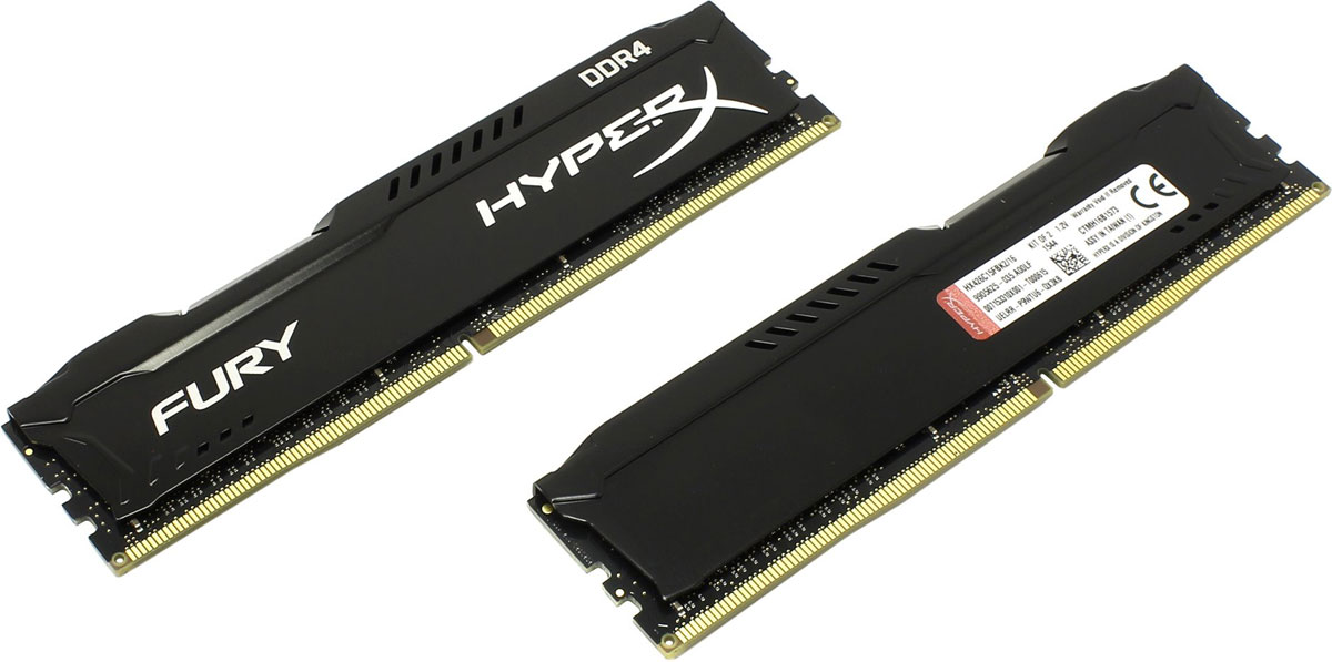 Kingston HyperX Fury DDR4 DIMM 16GB (2х8GB) 2666МГц комплект модулей оперативной памяти (HX426C15FBK2/16)HX426C15FBK2/16Модуль памяти Kingston HyperX Fury DDR4 автоматически разгоняется до максимальной заявленной частоты и обеспечивает максимальную производительность для системных плат с чипсетами Intel серии 100 и X99. Это недорогое решение для использования с 2-, 4-, 6- и 8-ядерными процессорами Intel повышает скорость редактирования видео, 3D-рендеринга, компьютерных игр и AI-процессинга. Его стильный низкопрофильный теплоотвод с характерным дизайном FURY сразу подчеркнет оригинальный внешний вид вашей системы.HyperX Fury DDR4 - это первая линейка продукции, предлагающая автоматический разгон до максимальной заявленной частоты. Получите максимальную скорость без необходимости ручной настройки.Низкое энергопотребление HyperX Fury DDR4 обеспечивает пониженное выделение тепла и высокую надежность. Благодаря низкому напряжению (1,2 В), снижается потребление энергии, что обеспечивает отсутствие нагрева и бесшумную работу ПК.Выделитесь из толпы и придайте своей системе стиль, добавив в нее культовый асимметричный теплоотвод Fury. Модуль памяти HyperX Fury, предлагаемый в черном цвете с черной печатной платой, дополняет системную плату с чипсетами Intel серии 100 и X99.