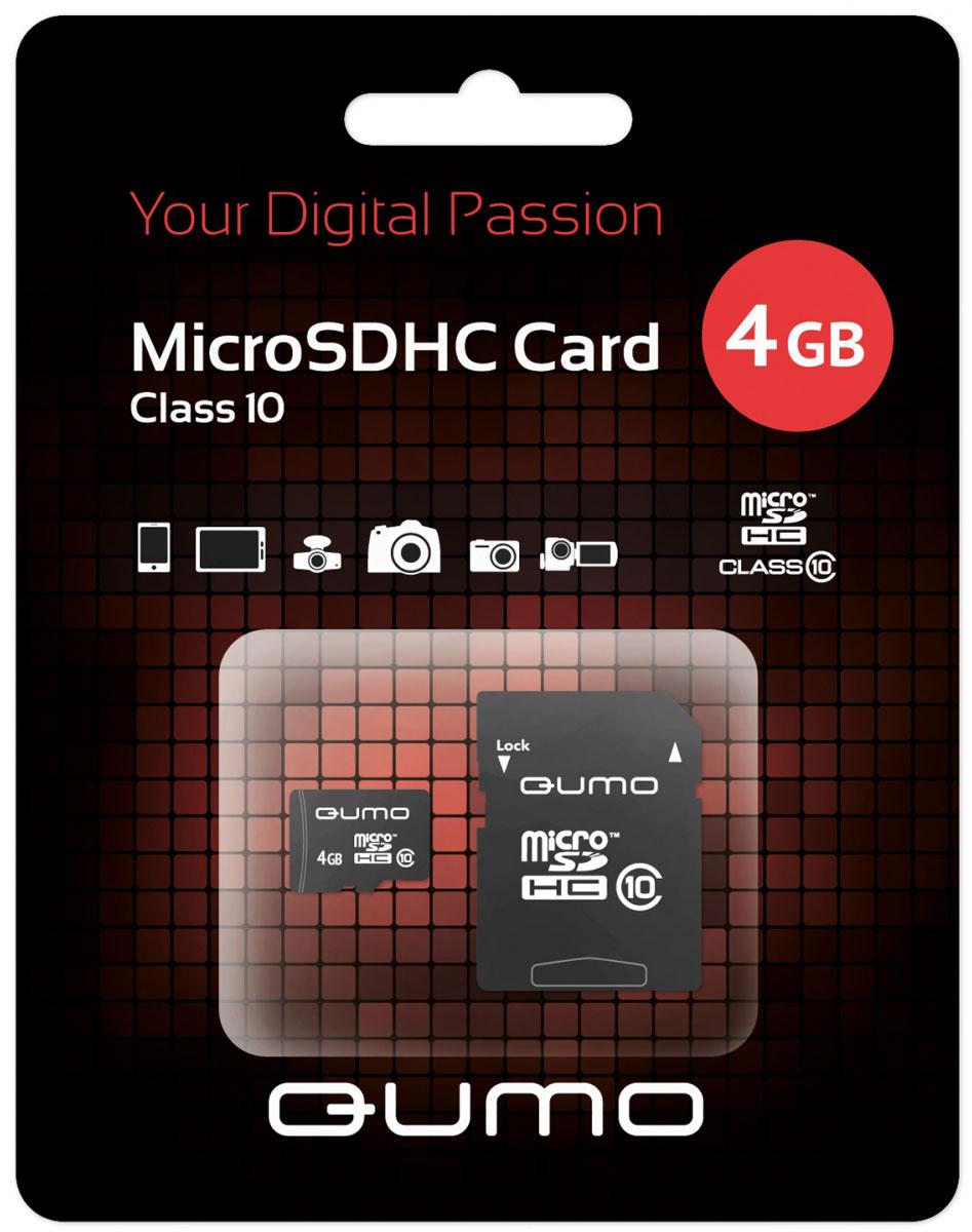 QUMO microSDHC Class 10 4GB карта памяти с адаптеромQM4GMICSDHC10Универсальная карта QUMO microSDHC Class 10 расширяет способность памяти многофункциональных мобильных телефонов, цифровых камер, карманных компьютеров и других портативных устройств, поддерживающие данный формат карт. Идеально подходит для записи любых видов данных. Сохраните больше своих собственных коллекций музыки, видеороликов, кинофильмов, рингтонов, картинок и фотографий.