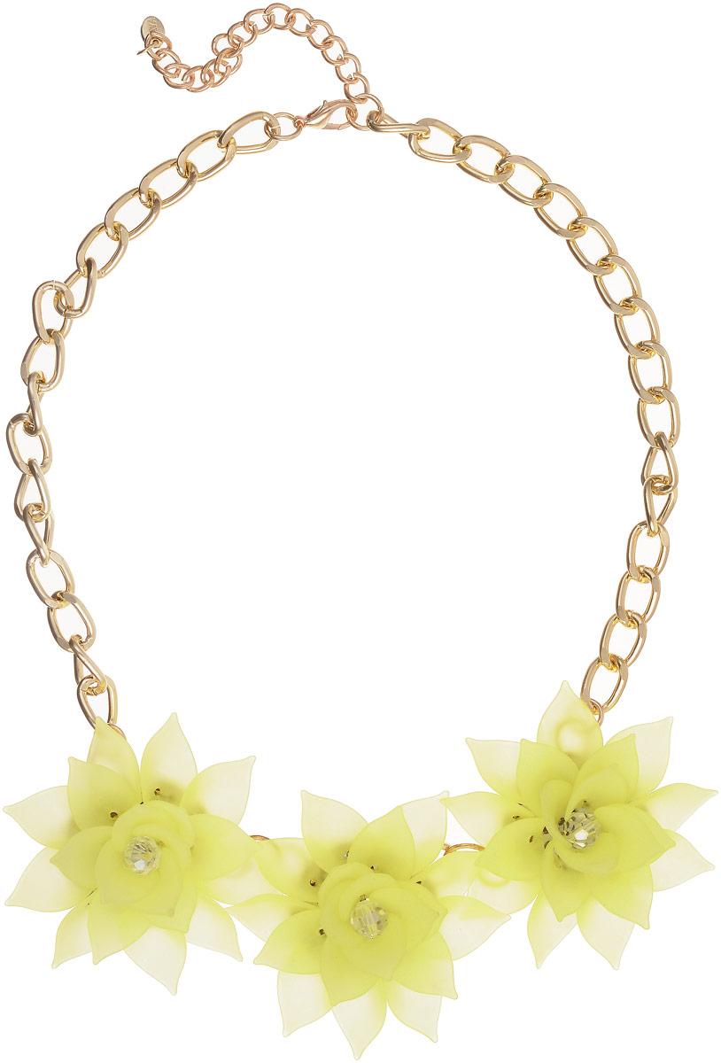 Колье Taya, цвет: золотистый, светло-желтый. T-B-13240Колье (короткие одноярусные бусы)Три матовых полупрозрачных цветка с острыми лепестками составляют нежнейшую композицию. Каждый цветок многоярусный, похож на цветок изысканного и редкого лотоса. Размеры: длина изделия 48 см + удлинение 7,0 см, каждый цветок диаметром 6,0 см.