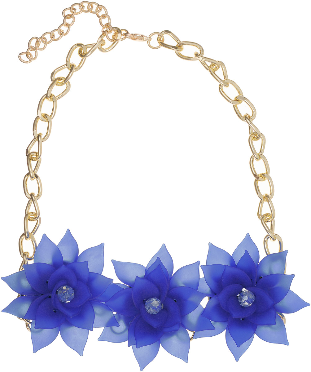 Колье Taya, цвет: золотистый, темно-синий. T-B-13238Колье (короткие одноярусные бусы)Три матовых полупрозрачных цветка с острыми лепестками составляют нежнейшую композицию. Каждый цветок многоярусный, похож на цветок изысканного и редкого лотоса. Размеры: длина изделия 48 см + удлинение 7,0 см, каждый цветок диаметром 6,0 см.