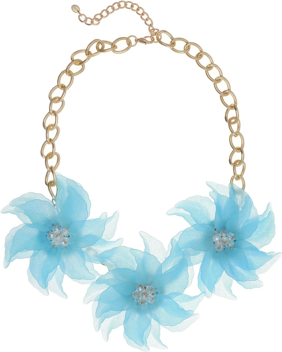 Колье Taya, цвет: золотистый, голубой. T-B-13233Колье (короткие одноярусные бусы)Оригинальное колье Taya, выполненное из бижутерного сплава, не оставит равнодушной ни одну любительницу изысканных и необычных украшений. Колье представляет собой широкую цепочку, дополненную цветами. Три матовых небесно-голубых цветка с острыми лепестками составляют нежнейшую композицию. Каждый лепесток плавно изогнут, видны все мельчайшие прожилки. Изделие имеет надежную застежку-карабин с регулирующей длину цепочкой.Такое колье позволит вам с легкостью воплотить самую смелую фантазию и создать собственный, неповторимый образ.