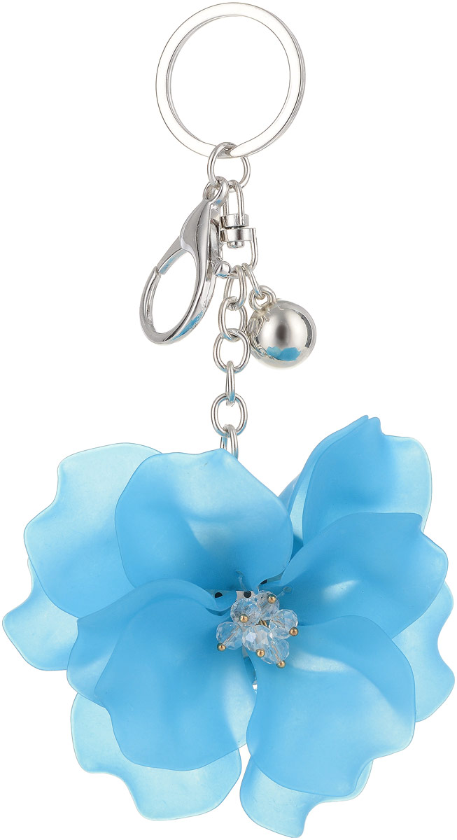 Брелок Taya, цвет: серебристый, синий. T-B-13259Приглашение №8 5 шт.Крупный многоярусный махровый цветок с застежкой на карабин и с кольцом для ключей. Размеры: диаметр цветка 9,0 см, длина цепи 6,5 см.