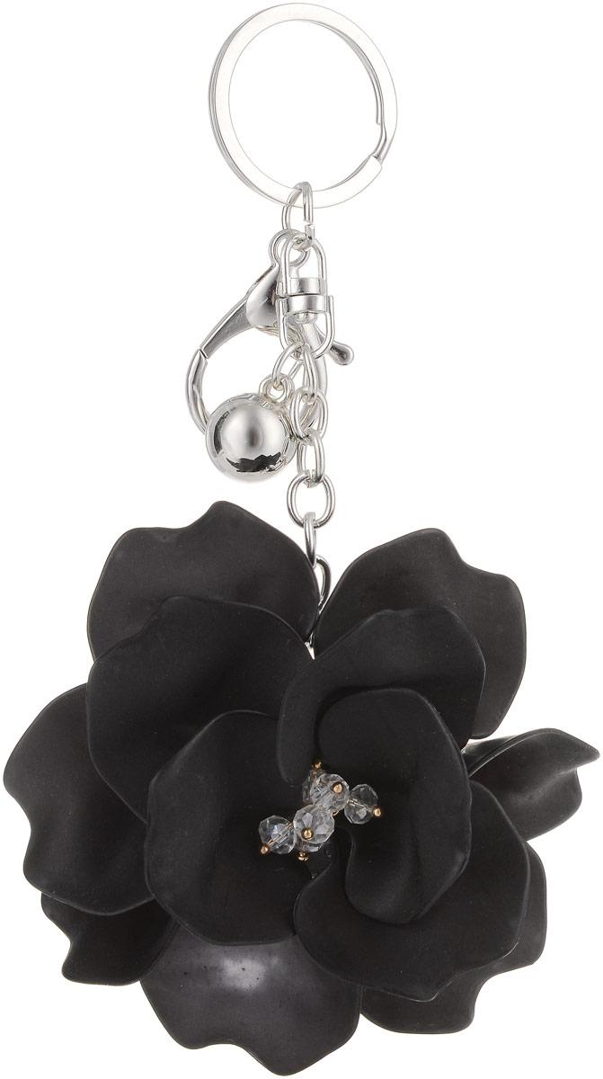 Брелок Taya, цвет: серебристый, черный. T-B-13261ML-4813 Ключница с узорами, со стеклянной дверцейКрупный многоярусный махровый цветок с застежкой на карабин и с кольцом для ключей. Размеры: диаметр цветка 9,0 см, длина цепи 6,5 см.