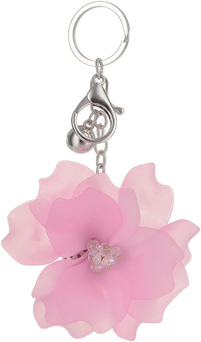 Брелок Taya, цвет: серебристый, розовый. T-B-132631818441Крупный многоярусный махровый цветок с застежкой на карабин и с кольцом для ключей. Размеры: диаметр цветка 9,0 см, длина цепи 6,5 см.