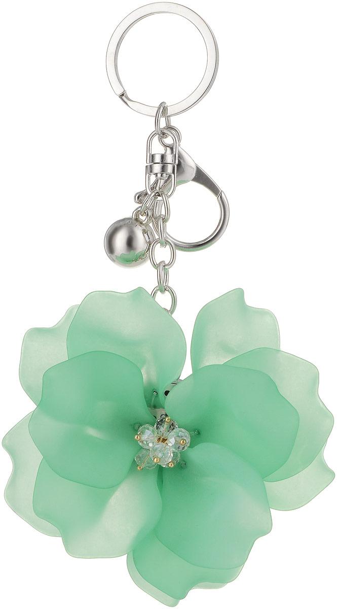 Брелок Taya, цвет: серебристый, зеленый. T-B-13262Брелок для ключейКрупный многоярусный махровый цветок с застежкой на карабин и с кольцом для ключей. Размеры: диаметр цветка 9,0 см, длина цепи 6,5 см.