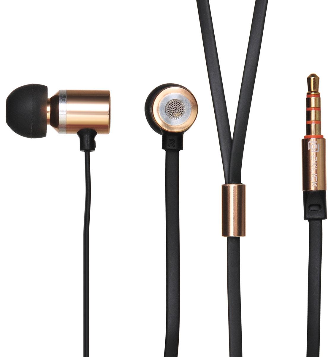 Oklick HS-S-410, Gold наушникиHS-S-410Oklick HP-S-410 - подходящий выбор для тех, кто не может представить свою жизнь без любимой музыки отменного качества, звучащей в ушах в пути, во время занятий спортом и любое другое удобное время.Наушники плотно и надежно фиксируются в ушной раковине благодаря специальной форме амбушюр, что выгодно отличает ее от других проводных моделей. Легковесная конструкция делает ношение этого устройства невероятно комфортным.Акустические характеристики гарнитуры Oklick HP-S-410 обеспечивают естественное звучание на средних частотах и четкую детализацию звуков при прослушивании музыки и аудиокниг.