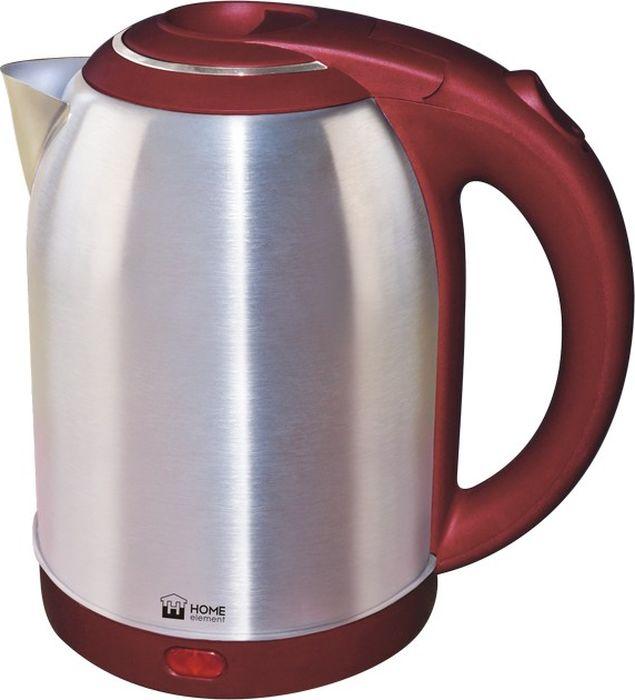 Home Element HE-KT155, Burgundy чайник электрическийHE-KT155Home Element HE-KT155 - отличный чайник на 2 литра для большой семьи, мощностью 1800 Вт. Вскипятит воду быстро. Автоматика отключит чайник, если в нем нет воды или она вскипела! Для удобства пользования чайник снабжен индикатором работы, и кнопкой открытия крышки. Закрытый нагревательный элемент избавит от коррозии и накипи.