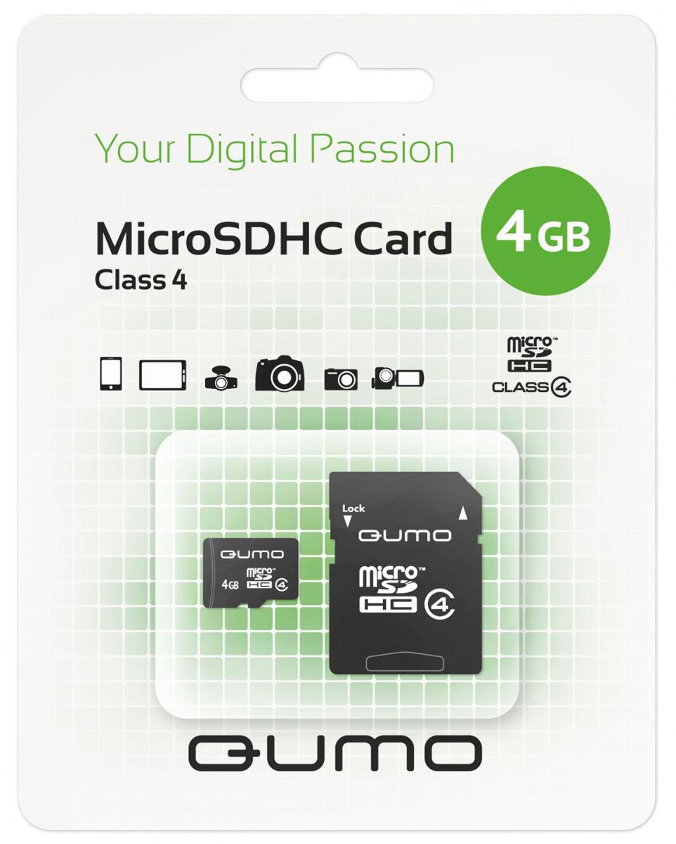 QUMO microSDHC Class 4 4GB, Black карта памяти с адапетромQM4GMICSDHC4Универсальная карта QUMO microSDHC Class 4 расширяет способность памяти многофункциональных мобильных телефонов, цифровых камер, карманных компьютеров и других портативных устройств, поддерживающие данный формат карт. Идеально подходит для записи любых видов данных. Сохраните больше своих собственных коллекций музыки, видеороликов, кинофильмов, рингтонов, картинок и фотографий.
