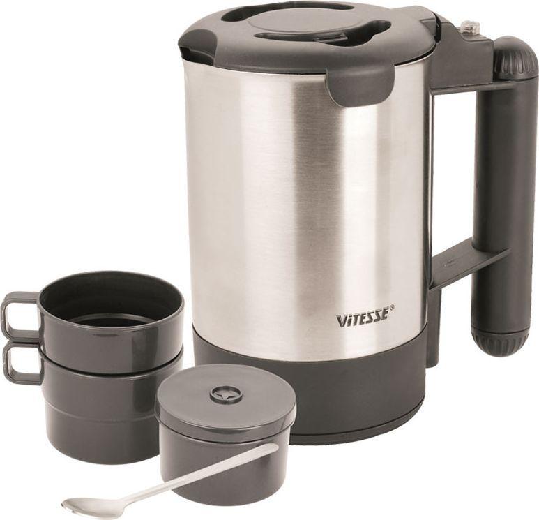 Vitesse VS-100 дорожный чайникVS-100Дорожный электрочайник Vitesse VS-100. 2 чашечки Коробочка для чайных пакетиков Постоянный фильтр Ложечка из нержавеющей стали