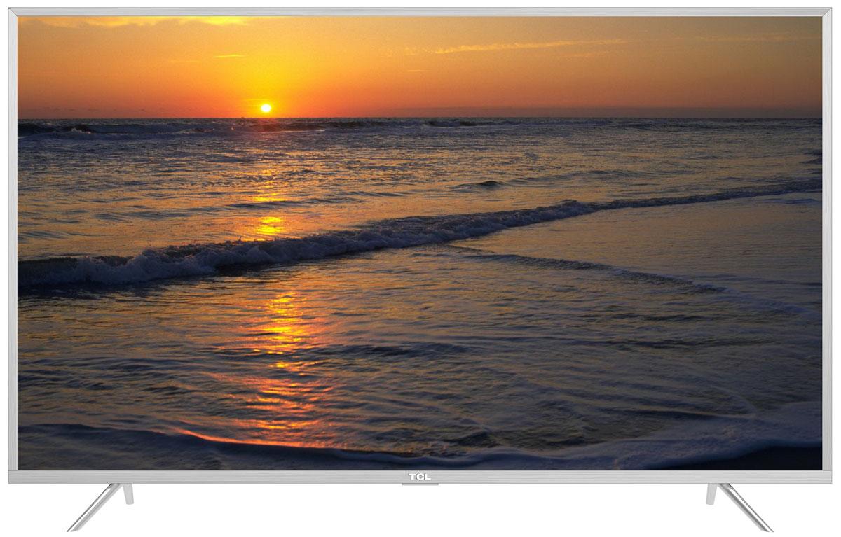 TCL L55P2US, Silver телевизорL55P2USНа экране телевизора TCL L55P2US вы всегда будете видеть идеальное изображение формата 4К, вне зависимости от качества видеосигнала. За его обработку отвечает высокопроизводительный 64-х битный процессор, автоматически анализирующий и конвертирующий картинку и звук. Загружайте новый контент, смотрите фильмы, слушайте музыку - в наилучшем качестве!Сверхчеткое изображение нового телевизора TCL позволит в динамике рассмотреть ранее недоступные мельчайшие детали, наслаждаясь насыщенностью цветов и контрастностью! Стандарт видеоизображения позволяет просматривать фильмы и компьютерную графику в разрешении 4К - 3840 x 2160.Телевизор TCL L55P2US имеет самую современную технологию прорисовки полутонов, позволяющую добиваться невероятной реалистичности картинки. Вы видите на экране до миллиарда тончайших цветовых тонов, которые делают изображение неотличимым от оригинала.Smart-телевизор TCL откроет для вас новый мир, объединяющий сотни и тысячи телеканалов, интернет-серфинг и вселенные онлайн-игр. Загружайте любимые фильмы, делитесь своими лучшими фотографиями и видеозаписями в социальных сетях, слушайте музыку и узнавайте интересующие вас новости с помощью удобных предустановленных приложений.Процессор 4K в сочетании с технологией UHD Upscaling передает цвета более естественно в ярких сценах, делая изображение реалистичнее. Поддержка масштабирования изображения до разрешения 4К при просмотре видео обеспечивает невероятное богатство деталей, естественную цветопередачу и контрастность, а тональные переходы получаются более плавными.