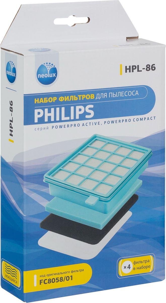 Neolux HPL-86 набор фильтров для пылесоса Philips, 4 штHPL-86Набор фильтров Neolux HPL-86 предназначен для пылесосов Philips серий: FC 8470 - 8479, FC 8630 - 8649, FC 8670 - 8679, FC 9320 - 9329, FC 9520 - 9542 . Код оригинального набора FC8058/01.