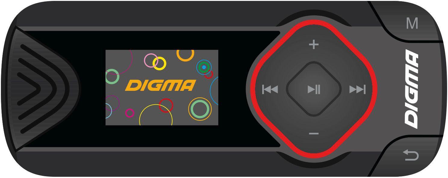 Digma R3 8Gb, Black MP3-плеерR3BKКомпактный и стильный MP3-плеер Digma R3 - отличный компаньон для любителей активного образа жизни. Утренние пробежки и тренировки в спортивном зале будут приносить еще больше удовольствия, если выполнять их, слушая любимые треки. MP3-плеер Digma R3 создан специально для активных людей.Корпус плеера выполнен из прочного пластика с приятным на ощупь покрытием soft-touch. На фронтальной стороне компактного и обтекаемого корпуса плеера размещен 0,8 монохромный дисплей и кольцо навигации по меню. Специальная клипса на задней стороне корпуса позволяет крепить Digma R3 на одежду в отсутствии на ней карманов.Наличие слота для карты памяти microSD предоставляет возможность увеличения общей памяти плеера. Встроенный тюнер позволяет прослушивать FM-радио и сохранять более 20 радиостанций в памяти устройства.