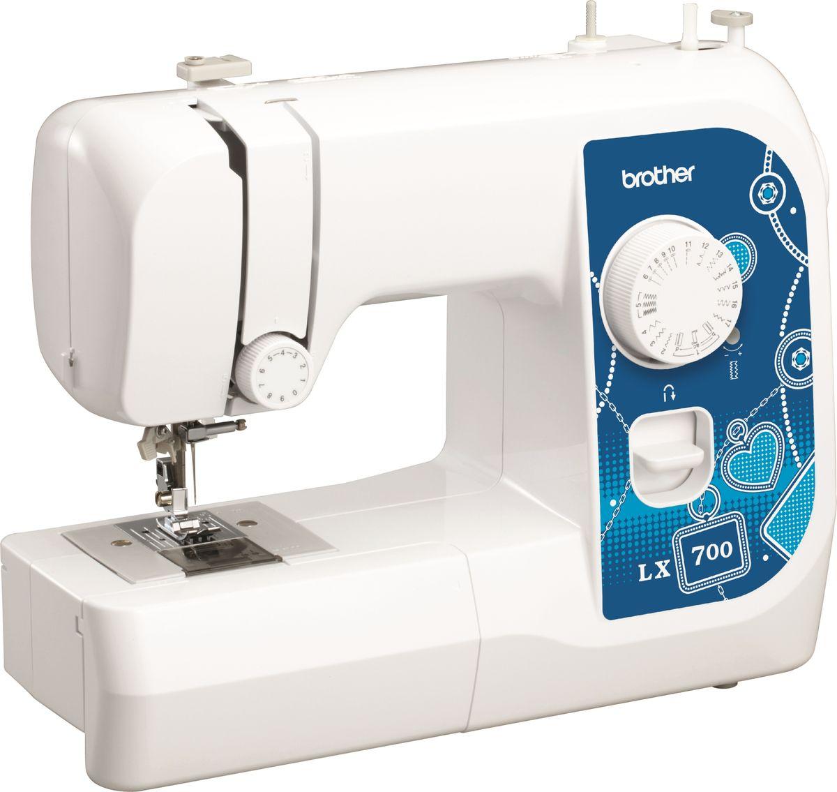 Brother LX700 швейная машинаLX700Машина LX700 идеально подходит для выполнения основных швейных операций при изготовлении и ремонте одежды. Эта надежная машина имеет традиционный набор функций, который необходим для шитья.Особенности17 строчекГоризонтальный челнокНитевдевательАвтоматическая намотка шпулькиДва направления шитья (вперед и назад)LED освещениеСвободный рукав