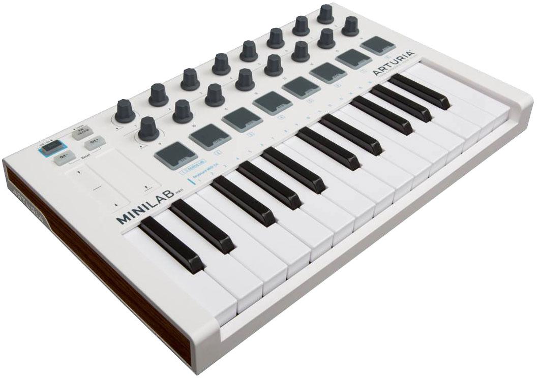 Arturia MiniLab mkII, White MIDI-клавиатураMCI5448025 клавишная низкопрофильная, динамическая MIDI мини-клавиатура.16 энкодеров8 RGB пэдовсенсорные регуляторы Pitch/Modulation1/4 Jack вход педали сустейнаUSBПО Arturia Analog Lab LiteAbleton Live Lite, UVI Grand Piano