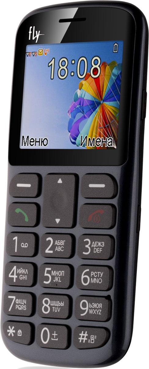 Fly Ezzy 8, Grey9488Мобильный телефон Fly Ezzy 8 с фонариком и крупными кнопками понравится представителям старшего поколения и маленьким детям. Эту модель можно использовать в качестве второго телефона.Fly Ezzy 8 можно хранить в кармане, сумочке или портфеле, используя в качестве резервного средства связи, если сел аккумулятор основного смартфона. В него можно вставить сразу две SIM-карты, получив возможность сэкономить на звонках абонентам разных мобильных операторов.Модель Ezzy 8 делает снимки с разрешением 640 x 480 пикселей и воспроизводит MP3-файлы с карты памяти на 16 Гб. Простой дизайн аппарата рассчитан на интуитивное понимание принципов управления телефоном, поэтому модель Ezzy 8 оценят и пожилые люди, и маленькие дети, пользующиеся средствами мобильной связи впервые.Кроме того, предусмотрена особая клавиша SOS, запускающая набор заданного номера одним нажатием. Если этот номер не отвечает – телефон переходит к набору следующего абонента, включённого в SOS-список.Телефон сертифицирован EAC и имеет русифицированную клавиатуру, меню и Руководство пользователя.