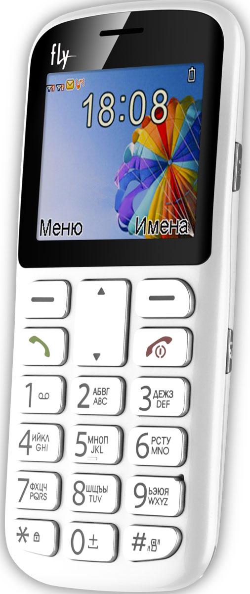 Fly Ezzy 8, White9489Мобильный телефон Fly Ezzy 8 с фонариком и крупными кнопками понравится представителям старшего поколения и маленьким детям. Эту модель можно использовать в качестве второго телефона.Fly Ezzy 8 можно хранить в кармане, сумочке или портфеле, используя в качестве резервного средства связи, если сел аккумулятор основного смартфона. В него можно вставить сразу две SIM-карты, получив возможность сэкономить на звонках абонентам разных мобильных операторов.Модель Ezzy 8 делает снимки с разрешением 640 x 480 пикселей и воспроизводит MP3-файлы с карты памяти на 16 Гб. Простой дизайн аппарата рассчитан на интуитивное понимание принципов управления телефоном, поэтому модель Ezzy 8 оценят и пожилые люди, и маленькие дети, пользующиеся средствами мобильной связи впервые.Кроме того, предусмотрена особая клавиша SOS, запускающая набор заданного номера одним нажатием. Если этот номер не отвечает - телефон переходит к набору следующего абонента, включённого в SOS-список.Телефон сертифицирован EAC и имеет русифицированную клавиатуру, меню и Руководство пользователя.