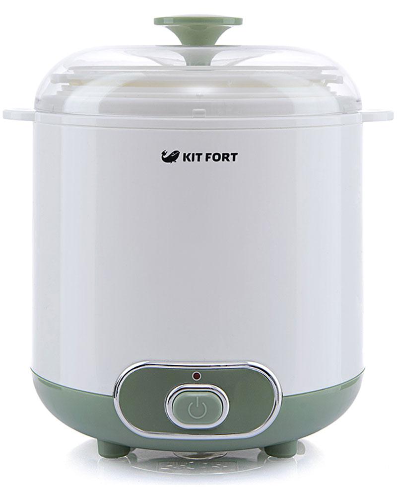 Kitfort КТ-2005 йогуртницаКТ-2005Йогуртница Kitfort КТ-2005 с механическим управлением предназначена для приготовления полезного домашнего йогурта и греческого йогурта. Она имеет большую чашу для закваски, прозрачную крышку и световой индикатор работы. Йогуртница равномерно нагревает чашу с ингредиентами, поддерживая температуру приготовления.Приготовить йогурт в Kitfort КТ-2005 очень легко. Правильно смешайте молоко и закваску, загрузите смесь в йогуртницу и нажмите кнопку включения. Объемная чаша обеспечит йогуртом большую семью, а при помощи сита можно приготовить греческий йогурт. Соблюдайте рекомендации по приготовлению, и вы получите здоровое и вкусное лакомство. Технические характеристики:Напряжение: 220 В, 50 ГцМощность: 20 ВтУправление: механическоеМатериал корпуса: пластикМатериал чаши: пластик Объем чаши: 1500 мл / полезный объем 1400 млВремя приготовления: 6-10 часовРабочая температура: 42±3?CДлина шнура: 83 смРазмер йогуртницы: 195 х 175 х 212 ммРазмер коробки: 175 x 175 x 220 ммВес нетто: 0,7 кгВес брутто: 0,9 кгКомплектация:Йогуртница - 1 штЧаша с крышкой - 1 штСито для приготовления греческого йогурта - 1 штВедро для слива сыворотки - 1 штРуководство по эксплуатации - 1 штГарантийный талон - 1 шт