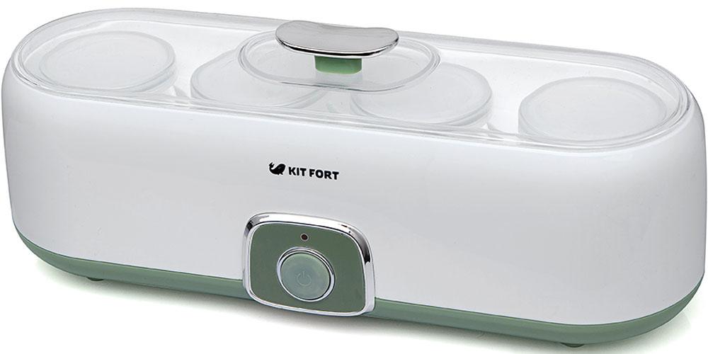 Kitfort КТ-2006 йогуртницаКТ-2006Йогуртница Kitfort КТ-2006 с механическим управлением предназначена для приготовления вкусного и полезного домашнего йогурта. Она имеет компактную овальную форму и вмещает 4 стеклянные баночки, в которых готовый йогурт можно хранить в холодильнике. Йогуртница равномерно нагревает баночки с ингредиентами, поддерживая заданную температуру. Приготовить йогурт в Kitfort КТ-2006 очень легко. Правильно смешайте молоко и закваску, загрузите смесь в йогуртницу и нажмите кнопку включения. Соблюдайте рекомендации по приготовлению, и вы получите замечательный вкусный йогурт.Технические характеристики:Напряжение: 220 В, 50 ГцМощность: 20 ВтУправление: механическоеМатериал корпуса: пластикМатериал баночек: стекло Объем баночки: 200 мл / полезный объем 180 млВремя приготовления: 6-10 часовРабочая температура: 42±3?C Длина шнура: 90 смРазмер йогуртницы: 350 х 125 x 135 ммРазмер коробки: 360 х 135 х 145 ммВес нетто: 1,2 кг Вес брутто: 1,35 кгКомплектация:Йогуртница с крышкой - 1 штСтеклянные баночки с крышками - 4 штРуководство по эксплуатации - 1 штГарантийный талон - 1 шт