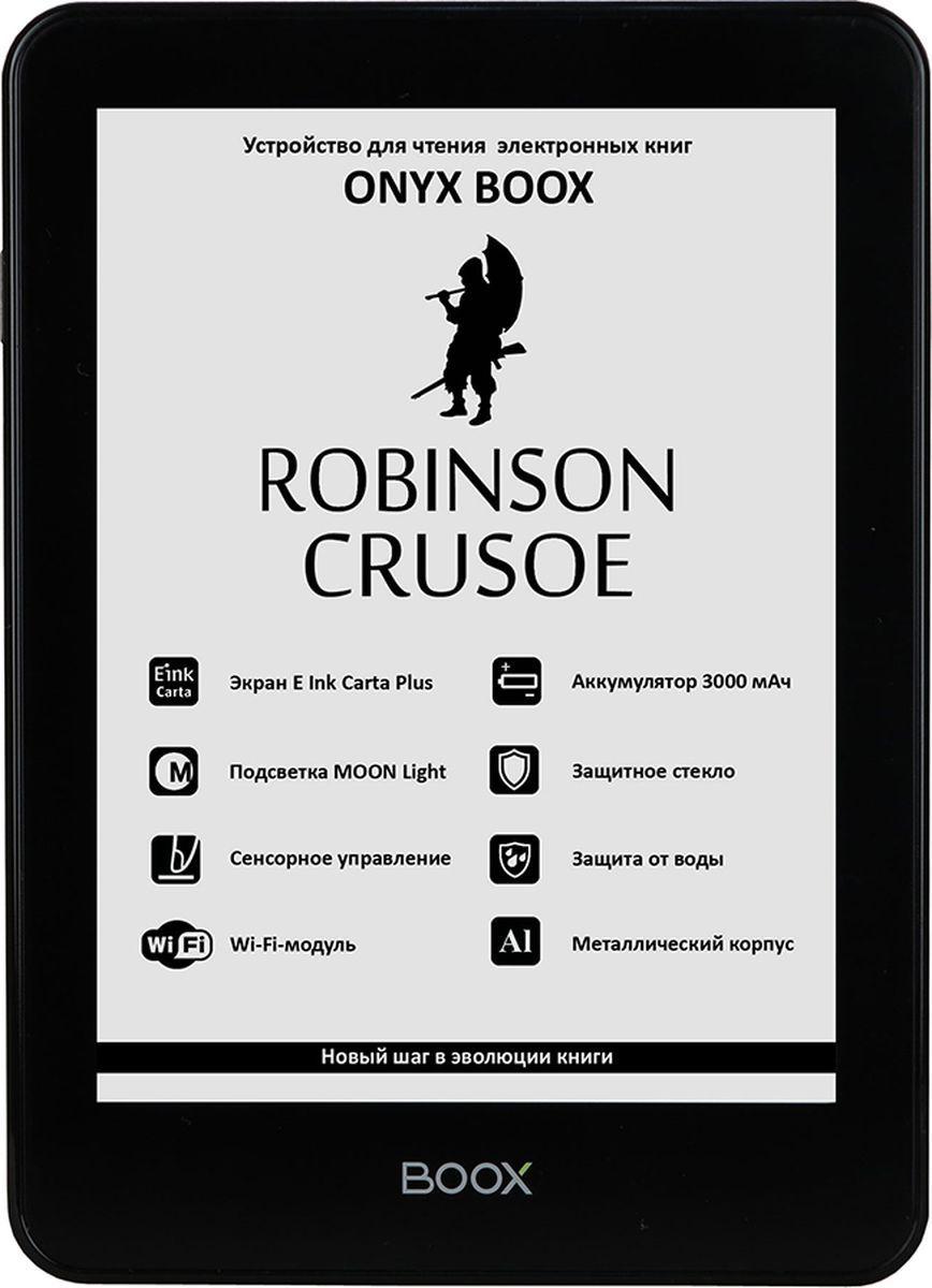 Onyx Boox Robinson Crusoe, Black электронная книгаONYX ROBINSON CRUSOE BlackOnyx Boox Robinson Crusoe — устройство для чтения электронных книг премиального уровня, оборудованное экраном последнего поколения E Ink Carta Plus с подсветкой MOON Light и имеющее защиту от брызг и влаги. Модель выполнена из высококачественных материалов, имеет тонкий корпус из алюминиевого сплава и защитное стекло ASAHI. Помимо этого, ридер оснащён высокопроизводительным 2-ядерным процессором, 512 МБ оперативной и 8 ГБ встроенной памяти. Интегрированный модуль Wi-Fi и сенсорное управление в сочетании с полноценным браузером позволяют использовать устройство для серфинга в сети Интернет. Операционная система Android благодаря богатейшему выбору программ позволяет открывать текстовые файлы практически любых форматов и настраивать любые параметры текста для максимально комфортного чтения.