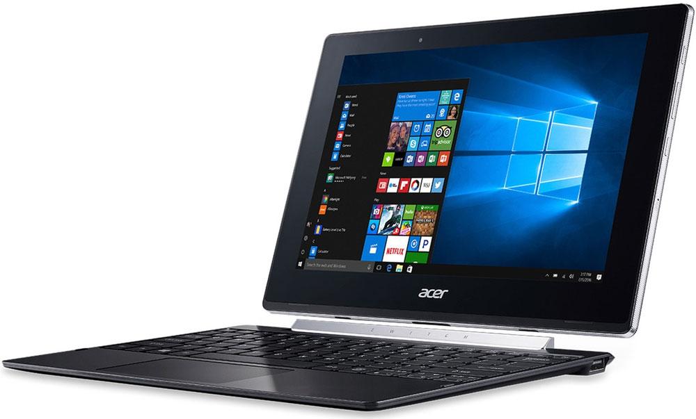 Acer Switch V10 SW5-017-11FU, BlackSW5-017-11FUAcer Switch V10 SW5-017 - компактный и производительный ноутбук-планшет для повседневных задач как в офисе, так и в пути.Тщательно продуманный механизм крепления Acer Snap Hinge 2 позволяет отсоединять и присоединять клавиатуру одним движением, без малейших усилий. Переключайтесь с легкостью между четырьмя режимами: ноутбук, планшет, презентация и дисплей.Процессор Intel Atom x5-Z8350 обеспечивает более высокое качество графики и улучшенную производительность, а также энергоэффективность. Это устройство 2-в-1 работает под управлением ОС Windows 10 и поддерживает функцию Continuum, которая автоматически переключает пользовательский интерфейс из режима планшета в режим ноутбук.Этот ноутбук создан с применением технологии Acer VisionCare, позволяющей включить защитный экран Acer BluelightShield, который уменьшает синее свечение экрана и предотвращает утомление глаз во время долгой работы. Технология Acer LumiFlex автоматически увеличивает контрастность при работе в условиях прямого солнечного освещения, в том числе вне помещений - вам больше не придется щуриться, чтобы рассмотреть изображение на экране.Дисплей с технологией IPS обеспечивает четкое изображение независимо от угла обзора. Экран защищен сверхпрочным стеклом Gorilla Glass, устойчивым к царапинам и делающим их менее заметными. Двойные динамики обеспечивают отличное качество звука, а две камеры (тыловая 5 Мпикс и фронтальная 2 Мпикс)позволяют с легкостью совершать видеозвонки.Точные характеристики зависят от модели.Ноутбук сертифицирован EAC и имеет русифицированную клавиатуру и Руководство пользователя.