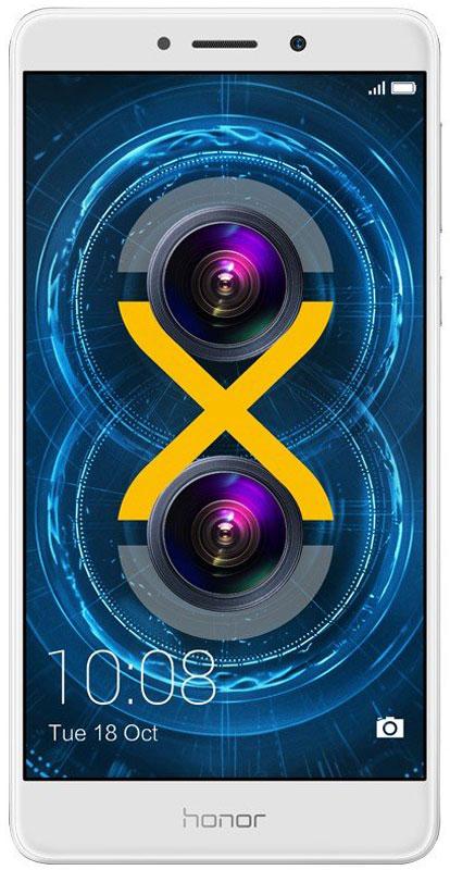 Huawei Honor 6X, Silver51091BFBСмартфон Huawei Honor 6X - ваш надежный помощник в процессе общения и отдыха.Двойная основная камера 12 Мпикс + 2 Мпикс позволит вам почувствовать себя настоящим фотографом. Запечатлейте лучшие моменты вашей жизни в высочайшем качестве.Эффект размытого фона и возможность изменять точку фокусировки на уже сделанных фото, благодаря двойной камере и широкому диапазону диафрагмы.Высочайшее качество цветопередачи, яркость и чистота изображений достигаются благодаря большому размеру пикселей - 1,25 µм, а технология изоляции пикселей и процессор обработки изображений Prim обеспечивают высочайшее качество снимков.Фронтальная камера 8 Мпикс снабжена широкоугольным объективом 77° и процессором обработки изображений Prim. Определение лиц и специальное программное обеспечение для съемки селфи перевернут ваше представление о фото, снятых фронтальной камерой.Honor 6X оснащен 8-ядерным процессором Kirin 655, созданным по технологии 16 нм, и 3 ГБ оперативной памяти. Это позволит вам играть, работать в Интернете, слушать музыку и использовать множество приложений одновременно без задержек.Батарея с увеличенной емкостью 3340 мАч позволит работать смартфону дольше, чем обычно. Ваши возможности будут практически безграничны: смартфон поддерживает до 11,5 часов просмотра видео, до 70 часов прослушивания музыки, до 8 часов игр без подзарядки. Больше никаких ограничений.Яркость 5,5 Full HD (1920 x 1080p) экрана достигает 450 нит, плотность пикселей составляет 403 PPI. Изображения на экране яркие и четкие даже под прямыми солнечными лучами.Режим защиты зрения снижает вредоносное УФ-излучение экрана, предотвращая усталость глаз. Прочное стекло с защитой от царапин сохранит отличный внешний вид смартфона надолго.Сканер отпечатка пальца третьего поколения позволяет разблокировать смартфон за 0,3 секунды касанием пальца.Интерфейс EMUI 4.1 предоставляет новые функции: режим нескольких окон, позволяющий открывать несколько приложений одновременно на одном экране, ф