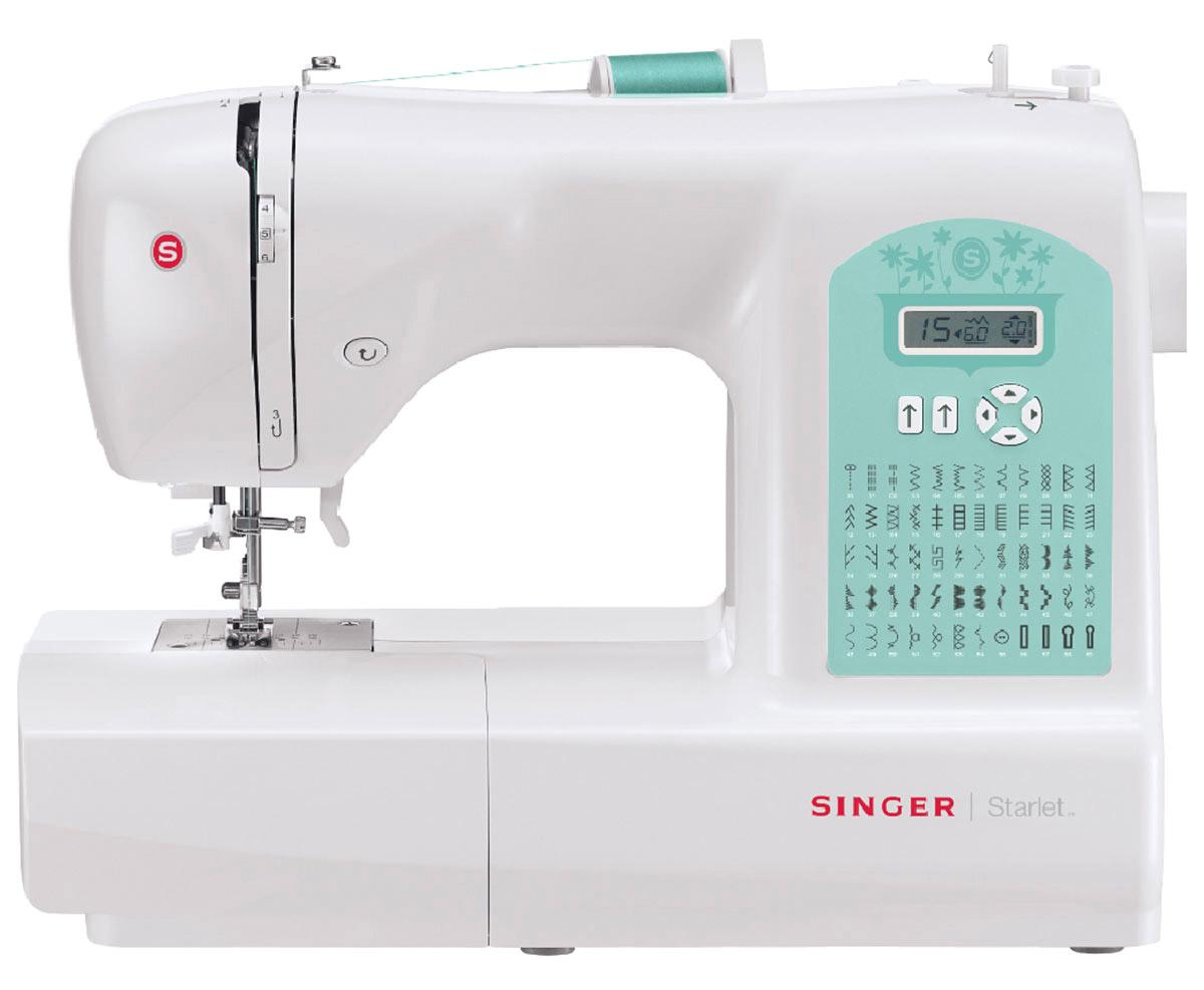 Singer Starlet 6660 швейная машина4996856111327Швейную машину Singer Starlet 6660 без сомнений можно назвать настоящей универсальной кудесницей. На ней вы сможете обработать практически любой материал абсолютно без проблем и сбоев. Высокая скорость при минимуме шума вам гарантирована — вертикальный челнок этой модели превосходно справляется со своей работой. Достаточно консервативный дизайн содержит в себе отличную функциональность и высокую надёжность.Современная швейная машина с электронным управлением обеспечивает широкий функционал. Вы избавляетесь от нудной регулировки точных параметров, уделяя время совершенствованию своего мастерства. Начните работу с нитевдевателя — уже на этом этапе вы почувствуете экономию времени. Далее вам нужно лишь выбрать одну из 59 операций, используя кнопки и удобный дисплей. Всё остальное машинка сделает сама. Она аккуратно исполняет потайные и эластичные швы и имеет функцию имитации оверлока. Автоматическая петля придётся очень кстати для пришивания пуговиц.