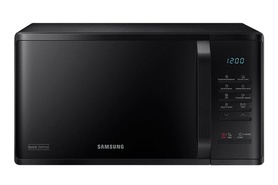 Samsung MS23K3513AK СВЧ-печьMS23K3513AKХарактеристики:объем 23 лмощность 800 Втэлектронное управлениекнопочные переключателидисплейсистема равномерного распределения микроволнзащита от детей.