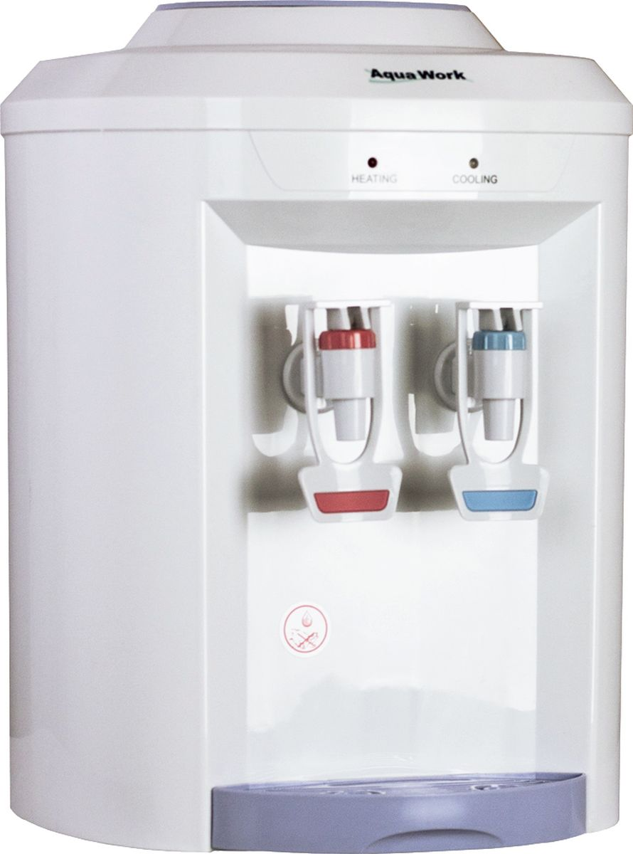 Aqua Work 721T кулер для воды10376Небольшой настольный кулер для воды AquaWork 721Т с нагревом и электронной системой охлаждения в пластиковом корпусе необычной формы.Мощность нагрева - 420 Вт, емкость бака - чуть меньше 1 литра, за час способен нагревать для вас 4-5 литров воды до температуры 90-92 градусаТермоэлектронная система успевает остудить до 12-15 градусов за час 3-4 стакана (0,6-0,8 литра)Два краника с небольшими резиновыми полосками на лапках - удобны для розливаКомпактность, высокая надежность и экономичное потребление электроэнергии делают кулер AquaWork 721Т хорошим помощником и в семье и небольшом офисе.