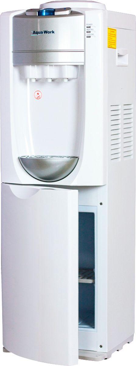 Aqua Work 712S-В кулер для воды10516Жесткий внутренний каркас кулера Aqua Work 712S-B препятствует статическим деформациям и при многолетних нагрузках под бутылью, и при неизбежных ударах, когда устанавливается сверху очередной баллон. Отличное белоснежное покрытие корпуса эффектно смотрится в самых различных помещениях - от офиса и приемной до кухни или дачи.Великолепное качество сборки, все детали идеально подогнаны друг к другуВстроенная компрессорная система охлаждения мощностью 100 Вт достаточна для охлаждения 1-2 литров в часНеобычной формы серебристый каплесборникНа верхнюю грань вынесены 3 удобные клавиши, для набора горячей, прохладной и холодной питьевой воды из установленной сверху на диспенсер бутылиНебольшой холодильник объемом 14 литров поможет сохранить фрукты или тортик, охладить напитки дома и на работеБлагодаря отличной теплоизоляции друг от друга горячего и холодного баков аппарат почти не отстает от своих более новых собратьев, экономя ваши расходы на электричествоПодходят любые стаканодержатели, с креплением как шурупами, так и удерживаемые магнитом