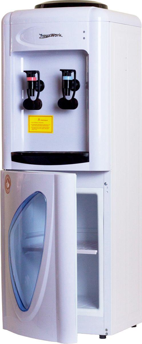 Aqua Work 0.7LD кулер для воды11629Небольшой напольный кулер для воды Aqua Work 0.7-LD со стандартным нагревом, электронной системой охлаждения и встроенным шкафчиком на 10 литров.Успевает нагреть за 1 час порядка 7 литров питьевой воды из установленной сверху бутыли до температуры 92-95 градусовОстудит за час до температуры 12-15 градусов 4-5 стакановВстроенный внизу шкафчик спрятан за полупрозрачной дверцей с отверстием в виде капельки, он не годится для хранения продуктов, нуждающихся в охлаждении. Сюда можно положить чай, кофе, сахар, кружки или одноразовые пластиковые стаканчикиК диспенсеру можно прикрепить стаканодержатели двух типов: как крепящиеся к корпусу шурупами, так и прилипающие за счет встроенного магнита