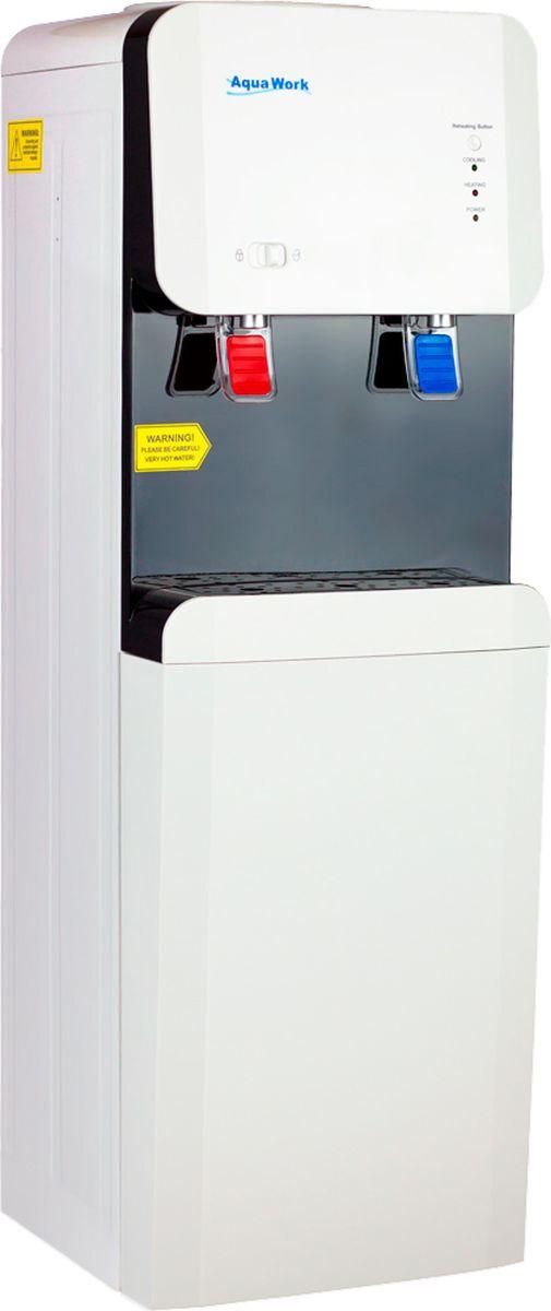 Aqua Work 105 LD кулер для воды19622Напольный кулер для питьевой воды Aqua Work 105 LD с нагревом и электронной системой охлаждения в корпусе из стали.Бак горячей воды с мощностью 500 Вт, объемом 1 литр, производительность - не менее 5 литров в час с температурой от 90°СДополнительная кнопка принудительного нагрева позволяет получать от модели всегда только максимум - 90 градусов и не одним меньшеМощность охлаждения: 68 Вт, охлаждение термоэлектрическое (электронное), успевает остудить 3-4 стакана в час на 12-15 градусов ниже температуры окружающей среды2 удобных краника для розлива питьевой воды типа нажим кружкойКрепкий корпус из нержавеющей стали разрешает крепить на аппарат любые стаканодержатели - и магнитные и шурупныеОчень качественная и ровная окраска всех деталей - в них хорошо видны окружающие детали, особенно красиво в ярком свете смотрится и каплесборник и его отражениеРычажок-переключатель для блокировки горячей воды - отличное решение, если Aqua Work 105 LD покупается в дом, где есть маленькие дети