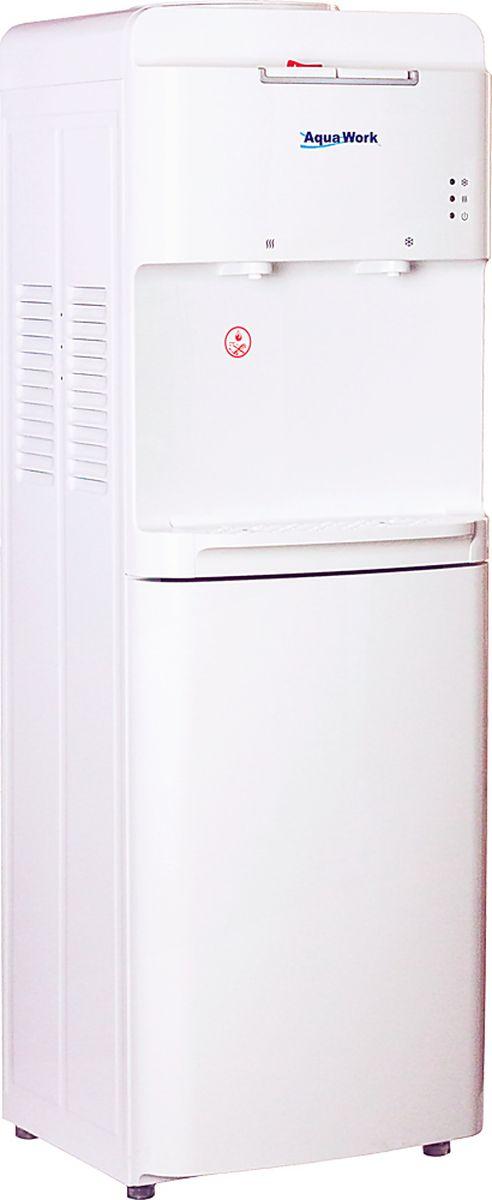 Aqua Work 1536S кулер для воды20020Белоснежный напольный диспенсер Aqua Work 1536S с нагревом, компрессорным охлаждением и защитой от случайного нажатия на горячей кнопке.Однолитровый бак для горячей воды успевает подогреть в течении часа не менее 4 литров. Отличная термоизоляция горячего бака помогает существенно уменьшить расходы на электроэнергию.Холодный бак охлаждает в течении 1 часа не менее 2 литров воды до температуры 7-10 °С.Корпус диспенсера Aqua Work 1536S выполнен из стали и пластика. Можно использовать любые стаканодержатели: и магнитные, и на шурупах.Кнопки розлива для удобства пользования вынесены на верхнюю грань, на горячей - защелка, препятствующая случайному нажатию (защита детей от ожогов).Белоснежная окраска, плавные линии поверхностей, лаконичный внешний вид, необычная форма каплесборника, немного уменьшенные размеры корпуса - все это отличительные черты нового кулера для воды Aqua Work 1536S.