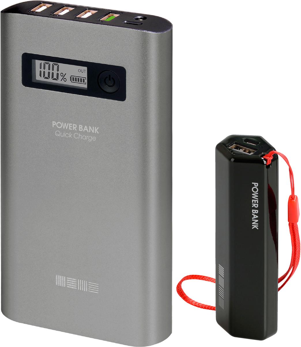 Interstep PB15000QC4U (15000 мАч) + PB30001 (3000 мАч) комплект внешних аккумуляторов46835ULTRA ячеейки внутри (5x3000мАч) - не путать с аналогами, на ячейках 6x2600=15600 (6 ячеек вместо 5 - тяжелее и габариты больше)Металлический корпус цвета Space GrayДисплей c % емкости4USB выхода - можно заряжать 4 устройства одновременноQuick Charge 3.0 out - еще быстрее чем QC 2.0.