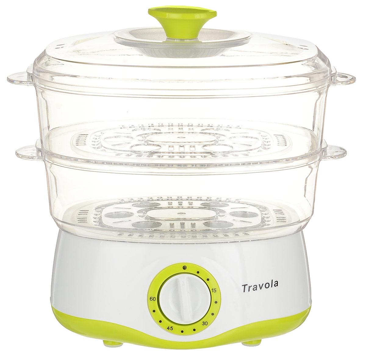 Travola KYS-302 пароваркаKYS-302Пароварка Travola KYS-302 - необходимый прибор для приготовления истинных кулинарных шедевров. Она максимально облегчает процесс приготовления блюд и гарантирует идеальный результат. Это разработка, произведенная с использованием собственных современных технологий, и, как результат - долговечный и высокопроизводительный прибор. Предназначена для приготовления блюд на пару, таких как манты, рыба и овощи на пару, тефтели, морепродукты, кукуруза и т.д.Два съемных поддона