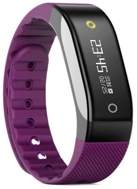 SMA Coach умный фитнес-браслет, VioletSCH01-PurpleSMA Coach - это фитнес-трекер со встроенным датчиком сердечного ритма и функциями смарт-часов. Следите за своим здоровьем и оставайтесь на связи: получайте информацию о звонках, СМС, уведомления и напоминаниях прямо на экран устройства на русском языке.Фитнес-браслет обладает RGB дисплеем с диагональю 0,88 дюймов, на котором отображаются время, уведомления и данные вашей физической активности. Для управления используется сенсорная кнопка, расположенная под экраном. На задней стороне устройства можно обнаружить датчик ЧСС и магнитную площадку для зарядки.Данный браслет может использоваться для определения количества шагов, пройденного расстояния, частоты сердечных сокращений и израсходованных калорий. Кроме того, в нем предусмотрена функция мониторинга сна.Универсальный ремешок подходит для запястья от 145 до 210 мм в обхвате.Класс защиты: IP65Диагональ: 0,88