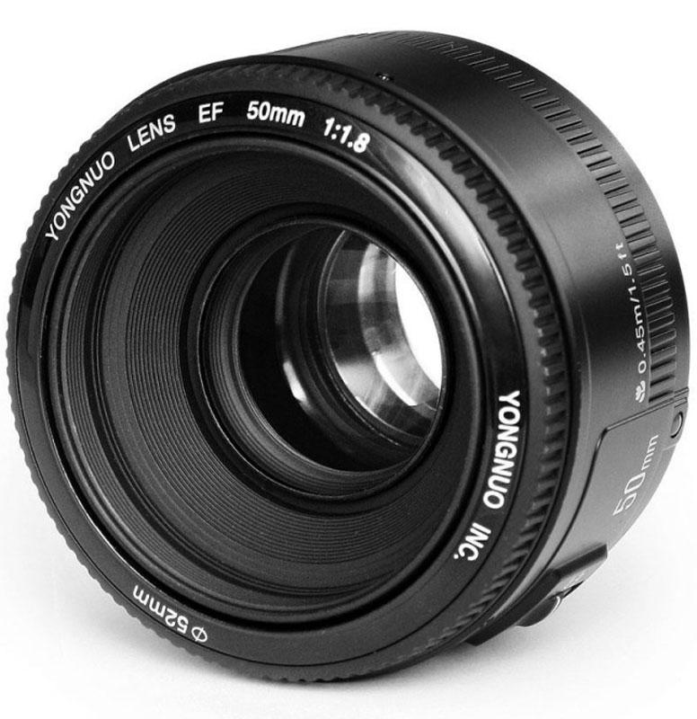 YongNuo 50F1.8 объектив для CanonYN50MM F1.8YongNuo 50F1.8 - отличный портретный объектив, который имеет автофокус и ручное управление фокусом. Минимальная дистанция фокусировки 0.45 м. На передней части имеет 52 мм резьбовое соединения для светофильтров. Подходит, как для кроп, так и полнокадровых фотоаппаратов. Состоит из 6 элементов в 5 группах.