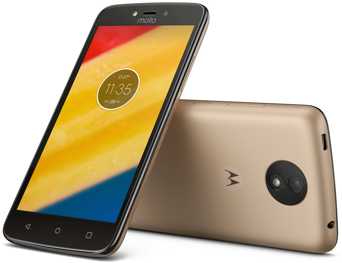 Motorola Moto C Plus, Whole Gold (XT1723)PA800003RUСмартфон Motorola MOTO C Plus XT1723 5 HD IPS/ 1280х720/ MediaTek MT6737 1,3Ghz/ 1GB/ 16GB/ 4G LTE/ WiFi/ BT/ SD/ 8MP/ Android 7.0/ Whole Gold