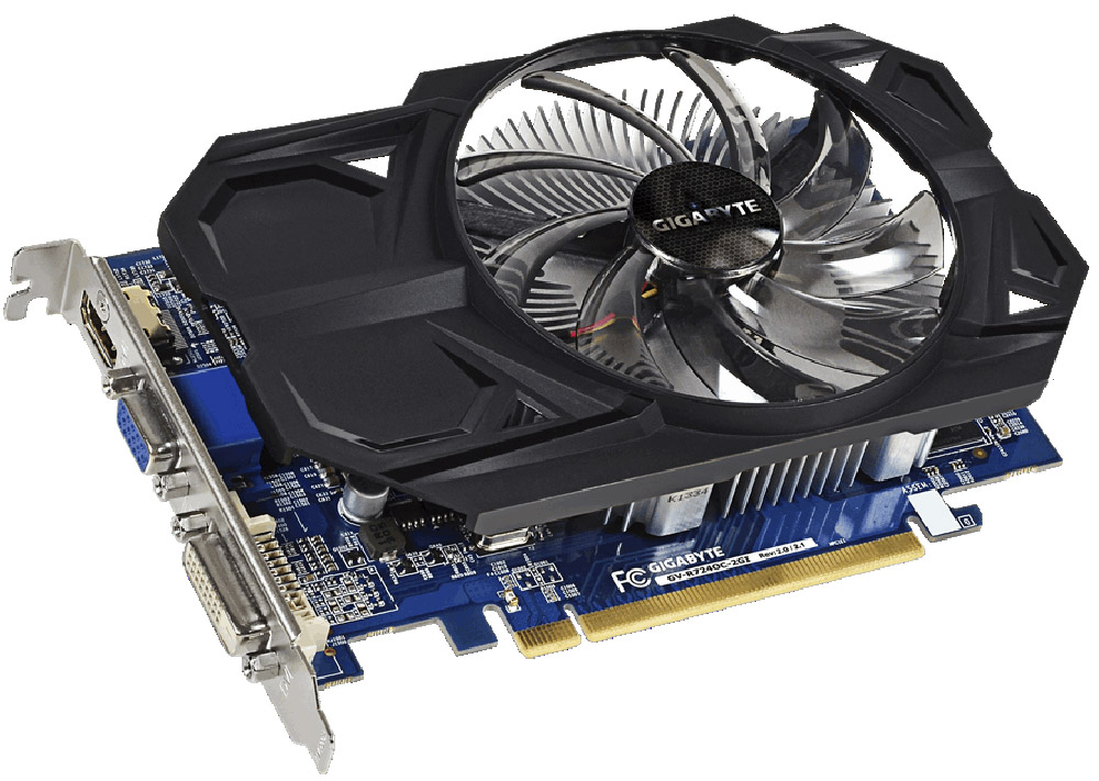 Gigabyte Radeon R7 240 2GB видеокартаGV-R724OC-2GIВидеокарта Gigabyte PCI-E GV-R724OC-2GI AMD R7 240 2048Mb 128b DDR3 780/1800/HDMIx1/CRTx1/HDCP Ret