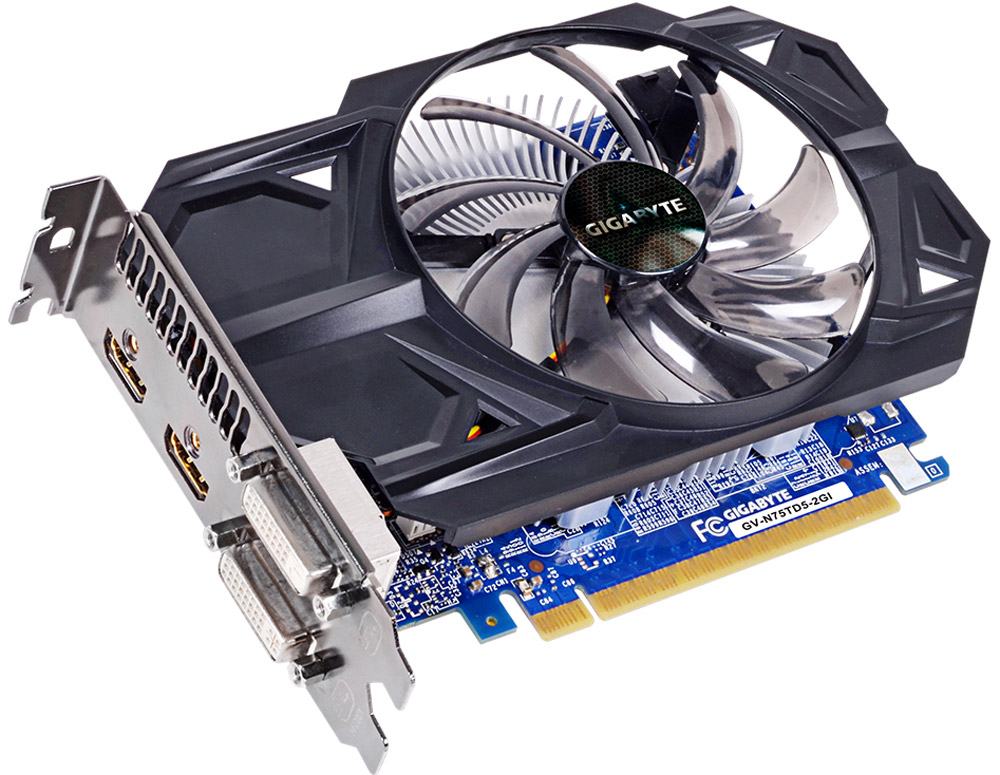 Gigabyte GeForce GTX 750 Ti 2GB видеокартаGV-N75TD5-2GIВидеокарта Gigabyte PCI-E GV-N75TD5-2GI NV GTX750Ti 2048Mb 128b GDDR5 1020/5400 DVIx2/HDMIx2/HDCP Re