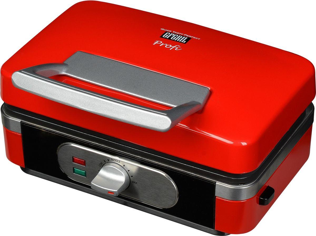 GFgril GF-040 Waffle-Grill-Toast, Red вафельница 3 в 1GF-040 Waffle-Grill-ToastGfgril GF-040 Waffle-Grill-Toast - универсальная многофункциональная вафельница 3 в 1, которая совмещает функции сразу трех приборов: вафельница (2 бельгийские вафли большого размера), тостер-сэндвичмейкер - для 2 тостов или 2 горячих бутербродов, и гриль - для жарки 2-х больших кусков мяса. В комплект входят 3 вида сменных панелей, которые легко моются и легко устанавливаются. Вам доступны 11 температурных режимов для наилучшего контроля степени запекания. Также имеется индикатор включения и нагрева. Рабочая поверхность имеет антипригарное покрытие, которое легко чистится и предотвращает пригорание. Прочный термостойкий корпус, защита от перегрева гарантируют безопасность в процессе приготовления.