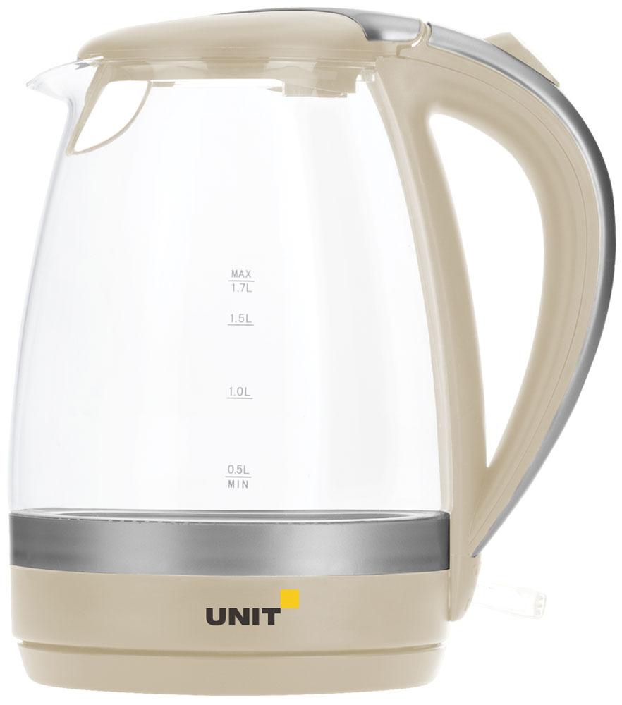 Unit UEK-254, Beige электрический чайникCE-0482128Электрический чайник Unit UEK-254 прост в управлении и долговечен в использовании. Он изготовлен из высококачественных материалов. Мощность 2200 Вт позволит вскипятить 1,7 литра воды в считанные минуты. Беспроводное соединение позволяет вращать чайник на подставке на 360°. Для обеспечения безопасности при повседневном использовании предусмотрены функция автовыключения, а также защита от включения при отсутствии воды.