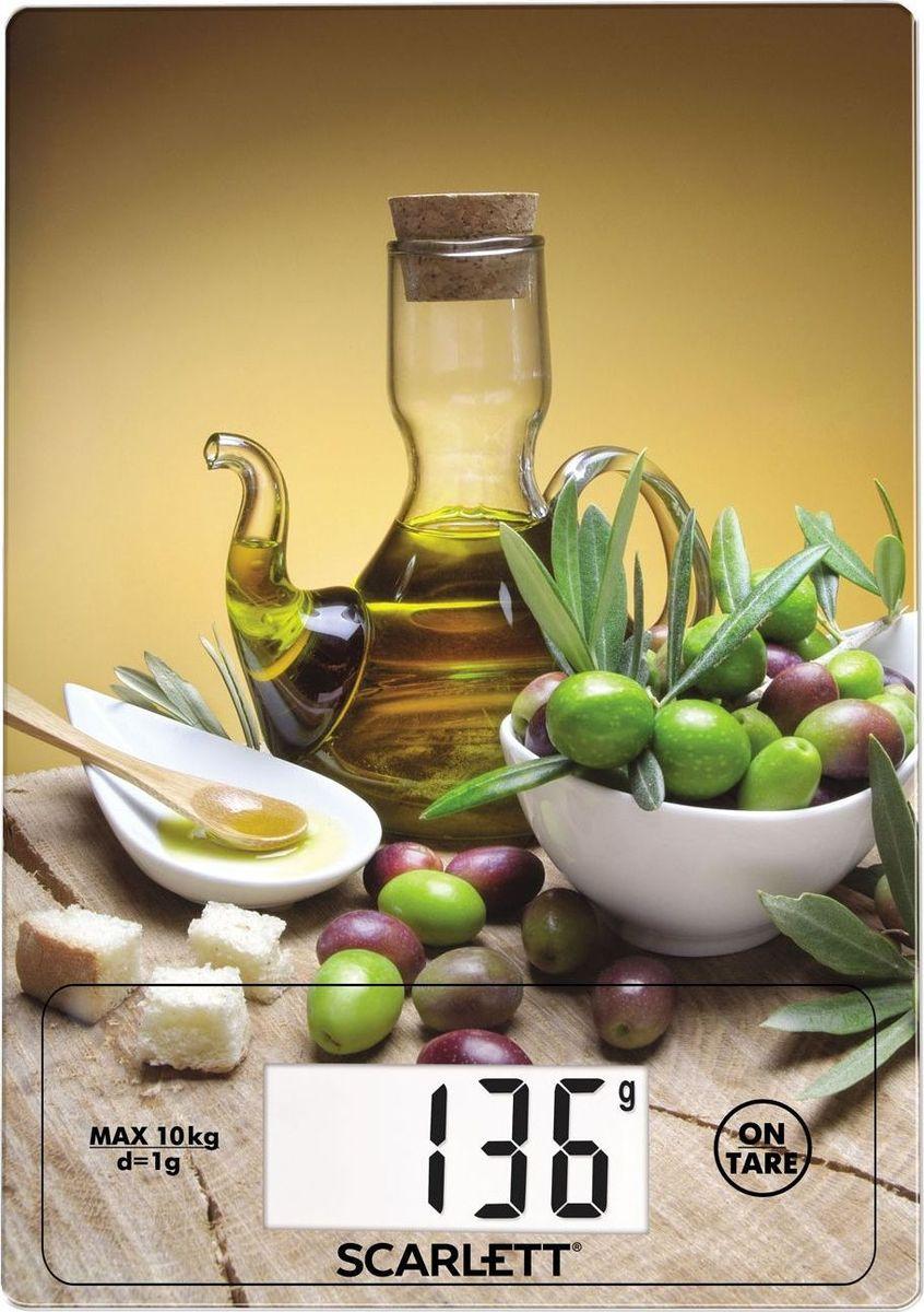 Scarlett SC-KS57P23, Olive Oil весы кухонныеSC-KS57P23Кухонные электронные весы Scarlett SC-KS57P23 - незаменимые помощники современной хозяйки. Весы прекрасно оснащены технически: супер точные, их максимальная погрешность составляет не более 1 грамма. Они способны измерять вес в граммах, а также объем молока и воды в миллилитрах.