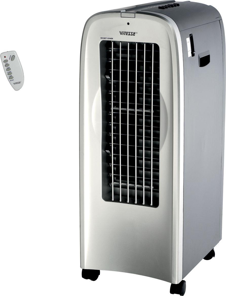 Vitesse VS-868 Охладитель/обогреватель воздухаVS-868От производителя Мобильный моноблок 5 в 1 Vitesse VS-868совмещает в себе сразу несколько функций: нагрев и охлаждение воздуха впомещении, ионизация и увлажнение воздуха, а также вентиляцияпомещения.Электронный тип управленияс дистанционным пультом делаетэксплуатацию максимальнокомфортной. Световой индикаторинформирует оначале работы, а продуманнаясистема безопасностиобеспечиваетавтоматическое отключение вслучае перегрева.Вращающиесяжалюзибио-климатизаторов позволяютнаправлять поток воздуха вразные стороны,равномерно охлаждая,нагревая или увлажняя помещение.Эргономичность, компактность,сочетание множества климатическихфункцийделает био-климатизаторыViTESSE надежными помощниками вподдержанииблагоприятногомикроклимата в доме.Био-климатизаторы ViTESSE –сделайте погоду в домелучше!