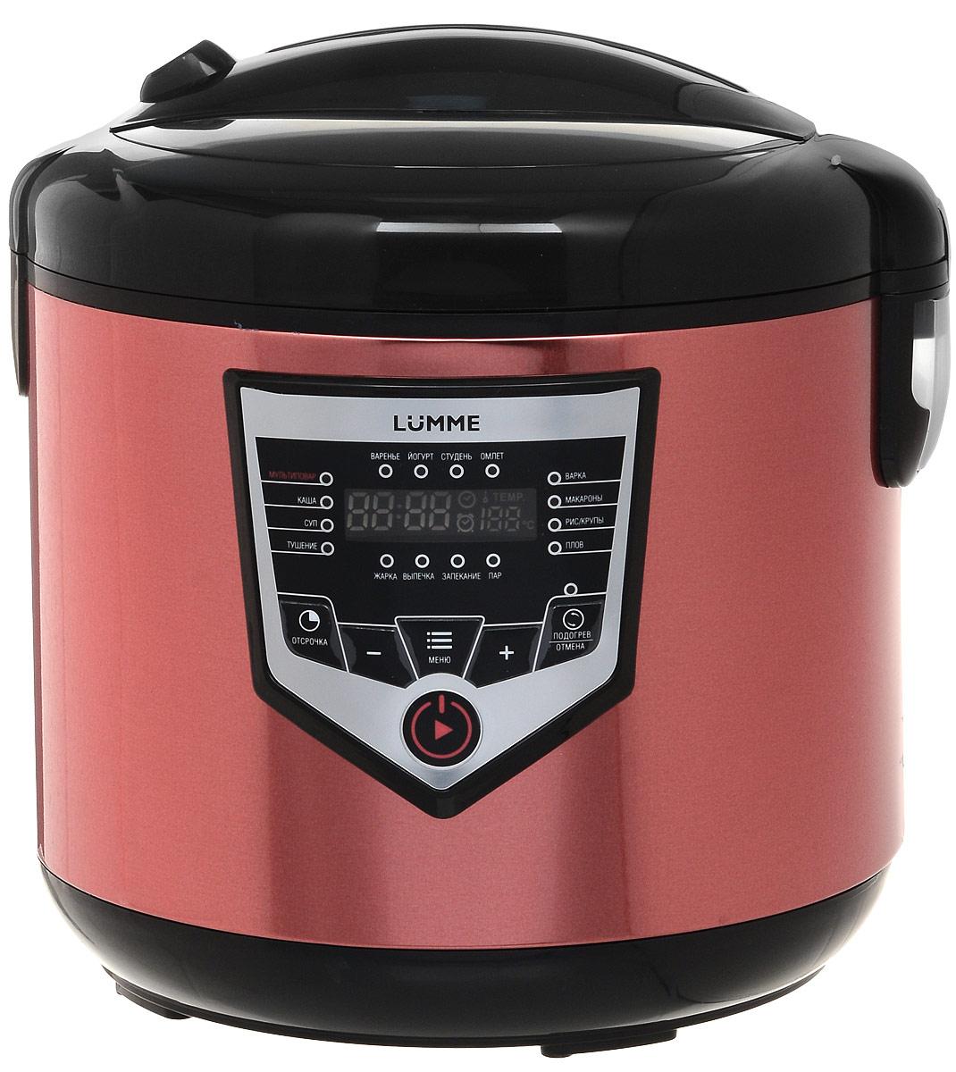Lumme LU-1446 Chef Pro, Red Black мультиваркаLU-1446Мультиварка LU-1446 Chef Pro - это высокотехнологичная кухонная техника для легкого приготовления всевозможных блюд с сохранением всех питательных свойств продуктов!Программы для мультиварок - это удобно, быстро и очень вкусно! Перейдите на новый уровень владения кулинарным искусством с помощью готовых программ Lumme-1446 Chef Pro!Программы для мультиварок - это удобно, быстро и очень вкусно! Перейдите на новый уровень владения кулинарным искусством с помощью готовых программ Lumme! 46 программ приготовления (16 автоматических программ и 30 ручных настроек) позволяют приготовить множество новых блюд! Помимо стандартного для большинства мультиварок набора блюд, теперь вы можете готовить йогурты, жаркое, студень, заливное, буженину, томить мясо, варить варенье или морс.Для каждой из 16 автоматических программ подобраны оптимальные значения времени и температуры приготовления, загружаемые по умолчанию при запуске программы.