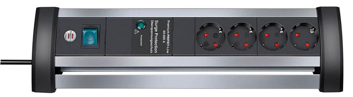 Brennenstuhl Alu-Office-Line 60.000 A сетевой фильтр на 4 розетки (1,8 м)1395000414Удлинитель с защитой от перенапряжения на 4 розетки Brennenstuhl Alu-Office-Line предназначен для подключения различных приборов и устройств к электросети. Удлинитель имеет термовыключатель, который обеспечивает дополнительную защиту от непредвиденных повышений температуры на варисторах и отключается от электросети в случае скачков напряжения.Защита оборудования от перенапряжения (непрямые удары молнии, помехи) максимум до 60 000 AУдобное непосредственное включении и включение/выключение на столеВсе запитанные устройства выключаются одним нажатием кнопкиКороткое время подавления всплесков напряженияВизуальный индикатор, показывающий активность защиты от перенапряженияВсе розетки заземлены и расположены под углом 45°Тип кабеля: H05VV-F 3G1,5Трехконтактные розеткиПрактически моментальное отключение при скачке напряженияПрочный алюминиевый корпус
