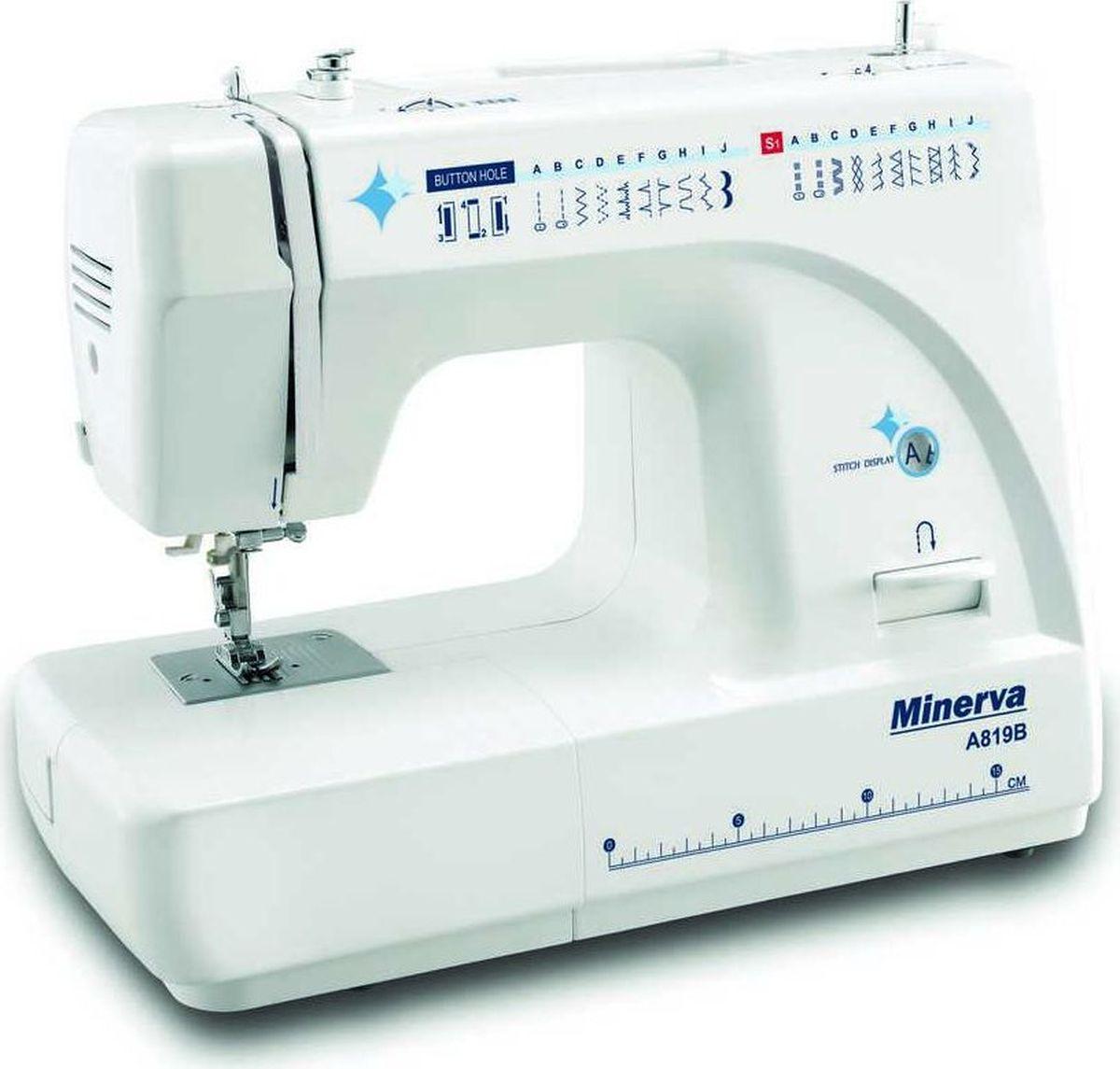 Minerva A819B швейная машинаM-A819BМодель - Minerva A819BMinerva A819B – это машина сочетающая в себе простоту работы и многофункциональность за приемлемую цену.Машина снабжена 19 видами строчек и петлёй полуавтоматом. Среди строчек имеются эластичные строчки для трикотажа, оверлочные, потайные подшивочные, а также фестонные и декоративные строчки для вышивки. Все строчки и операции переключаются в удобном режиме, не усложняя работу. Также машина предполагает работу с двойной иглой, что поможет Вам сделать красивые и ровные отделочные строчки на вашем изделии.Приятным моментом будет для Вас наличие автоматической заправки нити и нитеобрезателя. Это ускорит Вашу работу и упростит процесс замены нитки. Также машина имеет подсветку рабочей поверхности, что сохранит Ваше зрение и улучшит качество работы.Характеристики:Модель: MINERVA A819BКласс -ЭлектромеханическаяПетля - ПолуавтоматЧелнок -ВертикальныйМощность – 85 Вт.Нитеобрезчик - ЕстьСкорость шитья: 800 об/мин.Длина стежка: 4 ммВозможности: Выполняет 19 видов строчек:рабочие операции, эластичные строчки для трикотажных тканей, декоративная и фестонная вышивки, оверлочные строчки, потайная подшивка низа. Вертикальное челночное устройство.Плавная регулировка длины стежка от 0 до 4 мм.Плавная регулировка ширины строчек от 0 до 5 мм.Двойной фиксированный подъем лапки – 6 ммРаботает с различными видами тканей.Автоматическое переключение на холостой ход при намотке на шпульку.Быстрая замена лапокРеверсУдобный выбор строчек и операцииРабота двойной иглойРукавная консольПодсветка рабочей поверхности (лампа накаливания 15 Вт)Комплектация: Направляющая для выстегиванияНабор иглИнструментыШпулькиМягкий чехол.Лапки: Универсальная лапкаЛапка для выметывания петлиЛапка для вшивания молнииЛапка для пришивания пуговицДисплей - НетКорпус -ПластикСтрана производитель - Китай3 года гарантии.