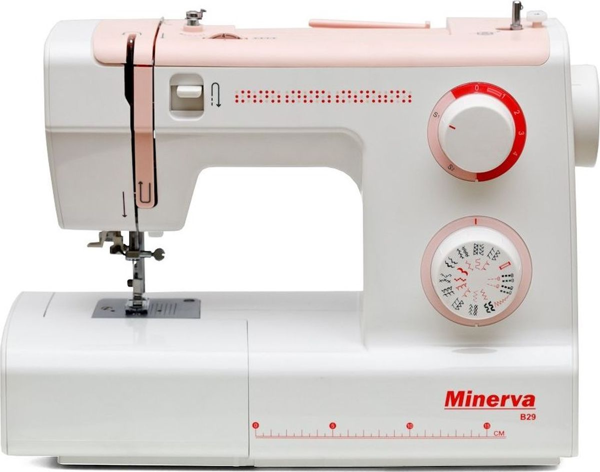 Minerva B29 швейная машинаM-MB29Minerva B29 - электромеханическая швейная машина, очень удобная и легкая в работе. Она выполняет 29 швейных операций (строчки для обработки трикотажных изделий, усиленные строчки, есть выбор отделочных строчек и др.). Для выбора швейных операций присутствует удобный диск. Данная швейная машина относится к машинам с двойной регулировкой, т.е. на панели присутствует диск для регулировки натяжения верхней нити и диск для регулировки длины строчки. Ширина зиг-зага выставляется автоматически в зависимости от выбранной Вами швейной операции. Вы также можете осуществлять работу двойной иглой. Петля обрабатывается в автоматическом режиме.Данная модель имеет автоматический нитевдеватель, реверс, рукав-консоль и позволяет осуществить быструю замену лапок.Купить швейную машину Minerva B29 значит приобрести надежного помощника, который будет помогать Вам в пошиве и ремонте одежды.Характеристики:Модель: Minerva B29Класс: МеханическаяПодходит: для всехПетля: АвтоматЧелнок: ВертикальныйНитеобрезчик: ЕстьСкорость шитья: 800 об/мин.Длина стежка: 0 до 4ммШирина стежка: 5ммВозможности: 29 швейных операций:в том числе рабочие операции, эластичные строчки для трикотажных тканей, декоративная и фестонная вышивки, оверлочные строчки, потайная подшивка низа.Удобный выбор строчек и операцийРукав-консольПлавная регулировка строчекРабота двойной иглойМощность: 105 ВтКомплектация:Держатель для второй катушки3 шпулькиНабор иглНабор отвертокЛапка для выметывания петлиПриспособление для выстегиванияЧехолЛапки:Универсальная лапкаЛапка для вшивания молнииЛапка для петлиЛапка для пришивания пуговицДисплей: НетПитание от сети: ЕстьКорпус: ПластикСтрана производитель: Вьетнам